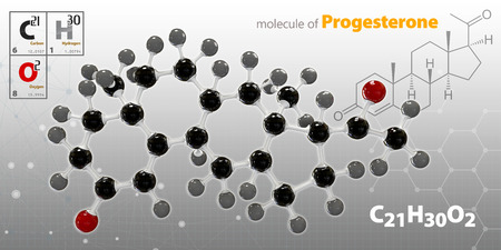 progesterone: 3d Illustration of Progesterone Molecule isolated gray background
