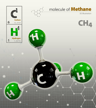 methane: 3d Illustration of Methane Molecule isolated grey background