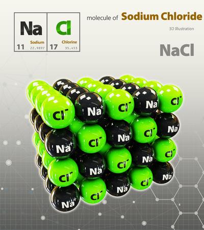 3d Illustration of Sodium Chloride Molecule isolated grey background Stock Photo