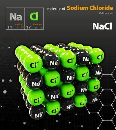 3d Illustration of Sodium Chloride Molecule isolated black background Stock Photo
