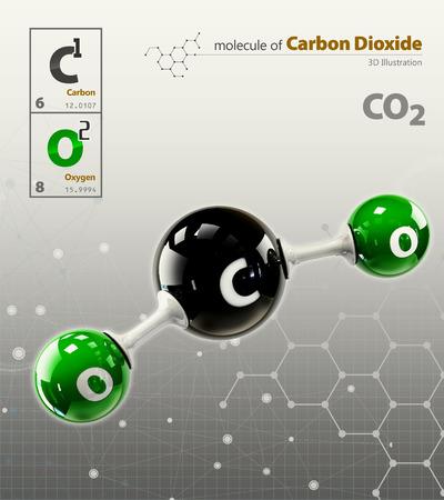 dioxido de carbono: 3d Ilustración de dióxido de carbono aislado fondo gris Foto de archivo
