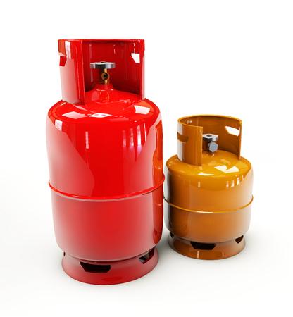 cilindro de gas: 3d Ilustración de la botella de gas propano en un fondo blanco