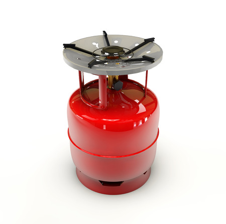 cilindro de gas: 3d Illustration of Propane gas cylinder on a white background