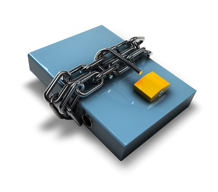 3D ilustration of folder unlocked by chains isolated over white. Stock Photo