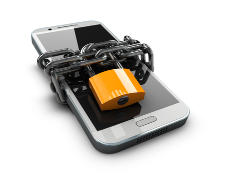3d illustration of Locked phone on a white background