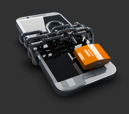 3d illustration of Unlocked phone on a black background Stock Photo