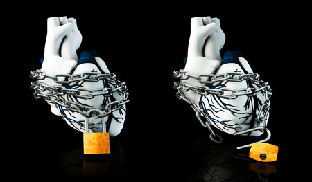 3d Illustration of Lock and Unlock Anatomy Human Heart - Isolated on black Stock Photo