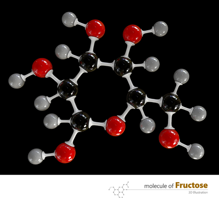 fructose: 3d Illustration of Fructose Molecule isolated black background