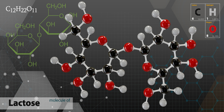 lactose: 3d Illustration of Lactose Molecule isolated dark background Stock Photo