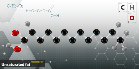 unsaturated: 3d Illustration of Unsaturated fat Molecule isolated gray background Stock Photo