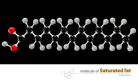saturated: 3d Illustration of saturated fat Molecule isolated black background Stock Photo