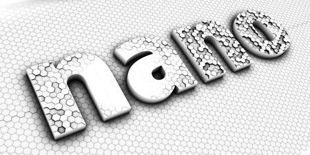 nanoparticle: Nano technology sign. Nano lettering. 3D illustration.