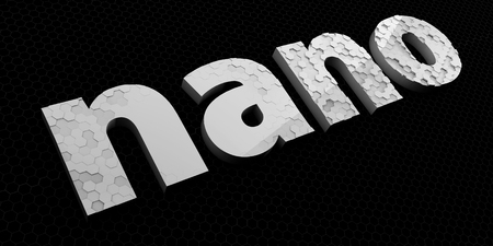 nanoparticle: Nano technology sign or logo. Nano lettering. 3D illustration.
