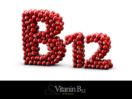high resolution 3D render of vitamin supplements, Vitamin B12 Stock Photo