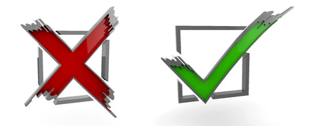 3d illustration of Check Mark Yes, No, graphic, symbol Stock Photo