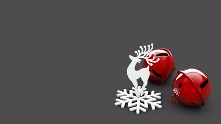 3D Illustration of Christmas deer on gray background