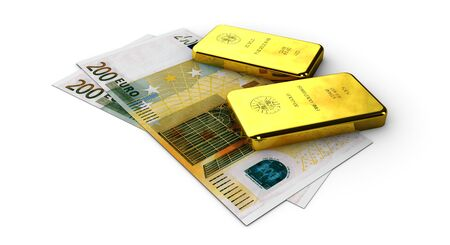 3d Stock Illustration of Money Gold, on white background Stock Photo