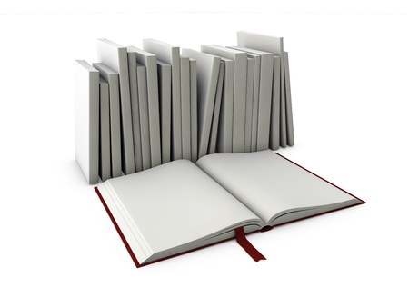 3d Illustration of Blank book cover template with pages