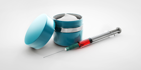 replenishing: 3d Illustration of hyaluronic acid cream with syringe isolated