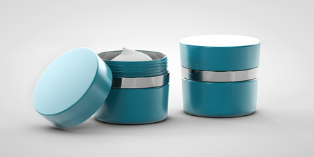 replenishing: 3d Illustration of cream on gray backround Stock Photo