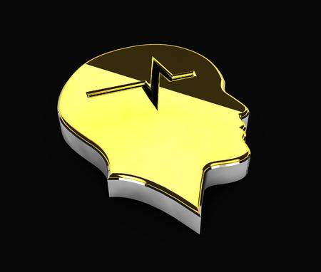private domain: 3d Illustration of gold Copyright symbol on black background