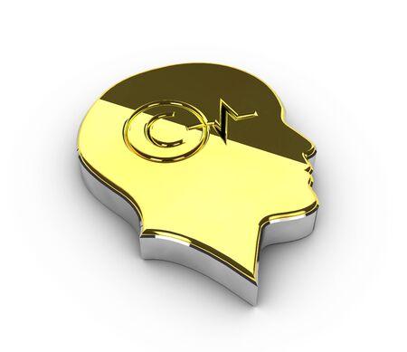 3d Illustration of gold Copyright symbol on white background