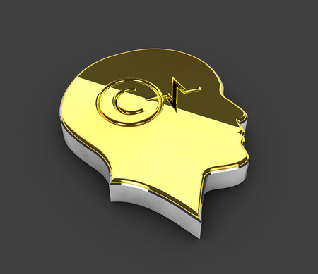 private domain: 3d Illustration of gold Copyright symbol on gray background