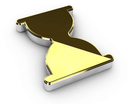 wait: 3d Illustration of gold wait symbol on white background