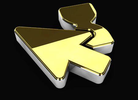 wait: 3d Illustration of gold wait symbol on black background