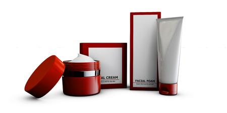 replenishing: 3d Illustration of cream with box on white backround