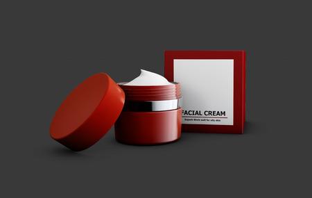 replenishing: 3d Illustration of cream with box on gray backround