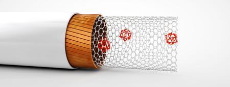 nanoparticle: 3d Illustration of Carbon nanotube structure inside view illustration.