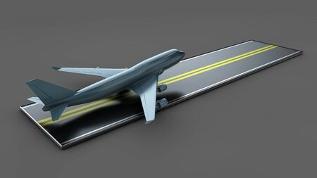 Big Commercial airplanes. 3D illustration. isolated on gray