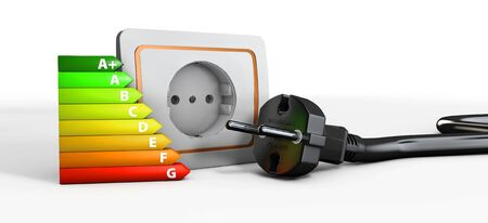3d Illustration of Power socket with cable plugged