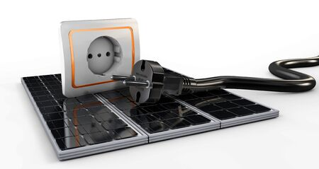 plugged: 3d Illustration of Power socket with cable plugged