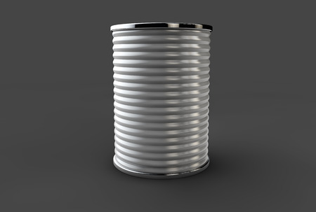 tinned: Tin box can packaging container isolated 3d illustration on gray background