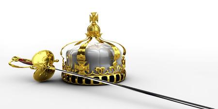 左利きの中世の騎士剣、および王冠 3 d イラスト分離