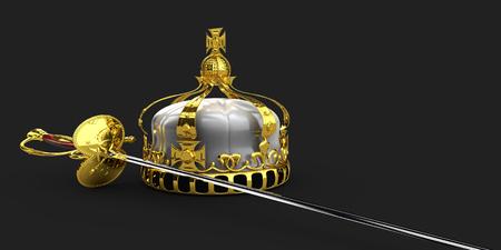 Handed mittelalterlichen Ritter Schwert und Krone 3D-Darstellung isoliert Standard-Bild - 68227113