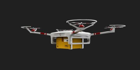 despatch: 3d illustration of Delivery drone with the package