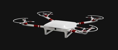 despatch: 3d illustration of drone isolated black background