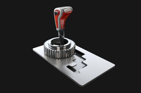 3d illustration of automatic gearbox selector black background Stock Photo