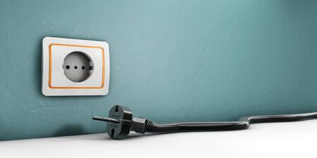 plugged: 3d Illustration of Socket and Power cable plugged on white background