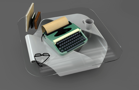 cofe: Writer desk mockup set. Desk with typewriter, books, cofe and glass. Workplace of writer or journalist. 3d illustration
