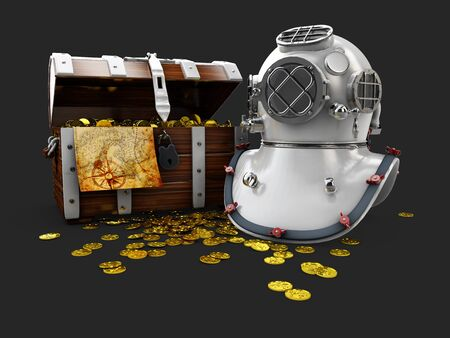 vintage wooden chest with golden coin and aqualung 3D illustration isolated on black background