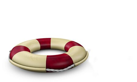 Life buoy isolated on white. High quality, detailed 3d illustration Stock Photo