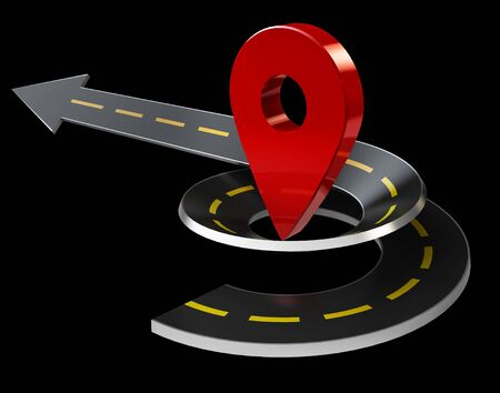 3d Illustration of Curved Road with GPS Icons. Navigation Stock Photo