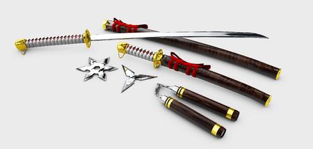 throwing knife: Japanese Katana. Samurai set Isolated weapons. 3d illustration.