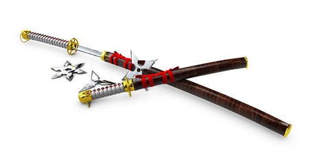 Japanese Katana. Samurai set Isolated weapons. 3d illustration.