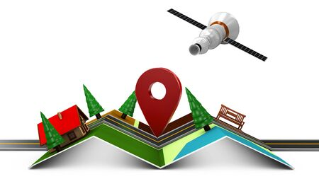 3d Illustration of Street Map with GPS Icons. Navigation Stock Photo