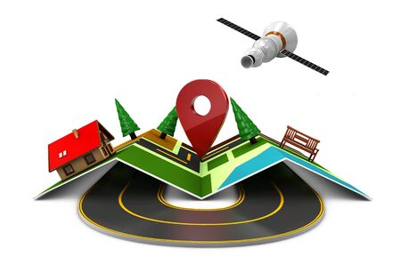 locality: 3d Illustration of Street Map with GPS Icons. Navigation Stock Photo